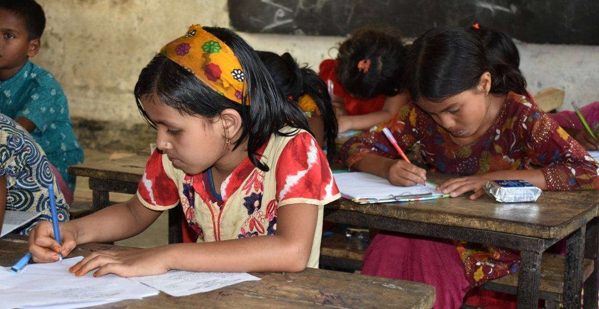 Girls at school assignments in Kurigram Bangladesh